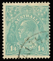Lot 578:1/4d Greenish Blue BW #131 with quarter strike of the rare 'C'WEALTH OFFICES' (Vic) CTO cancel, without gum.