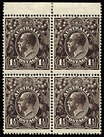 Lot 563:1½d Black-Brown Die I Watermark inverted BW #84a marginal block of 4, hinged in upper margin only, stamps fresh MUH, Cat $600+.