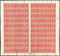 Lot 566:1½d Red Die I Electro 17 BW #90(17) complete sheet of 120, sheet margins intact, with T.S.Harrison two-line ('N' over 'MP') imprint at base, and all Brusden White listed flaws between BW #90(17)d-vc, some perf separations (reinforced in places) most units fresh MUH, Cat $4,000+.