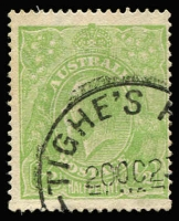 Lot 532:½d Very Yellow 'Cyprus' Green BW #63H, fine used with Tighe's Hill (NSW) datestamp, Cat $150. Much scarcer used than mint.