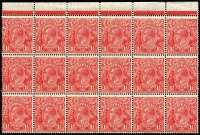Lot 575:1½d Red Die II Thin paper BW #92aa block of 18 [1L1-18], fresh MUH, Cat $4,500+. Rare multiple.