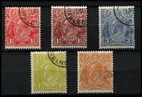 Lot 247 [2 of 2]:1½d To 1/4d Selection CTO comprising 1½d red, 1½d brown, 3d Die II, 4d, 5d & 1/4d, all with gum, two higher values hinge remnants, generally fine.