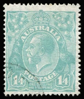 Lot 572:1/4 Greenish Blue variety Flaw in emu's tail [1L2], CTO, BW #129ew, extrapolated Cat $600.