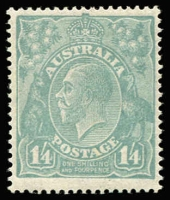 Lot 571:1/4d Greenish Blue BW #129A, fresh MUH, premium example, Cat $1,250.