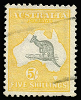 Lot 504 [1 of 2]:5/- Selection with Third Wmk x3 one with variety Spencer's Gulf short [R60] BW #44(D)j (few short perfs); also CofA x2, one CTO. Cat $920. (5)