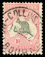 Lot 617:10/- Grey & Pink 2l, fine used with 1937 Collins Street (Melbourne) datestamp, Cat $275.