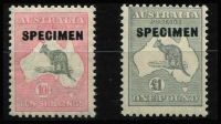 Lot 620 [2 of 2]:10/- To £2 optd 'SPECIMEN' Type D, BW #50xe,54x,58x, MVLH, Cat $295. (3)