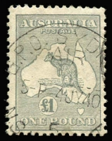 Lot 622:£1 Grey BW #53, very fine used with 1940 GPO Sydney Air datestamp, Cat $500.