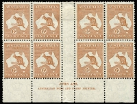Lot 523:6d Chestnut Die IIB Plate 3 Ash 'N' over 'N' imprint block of 8, with variety White hairline from value circle to map [3L54] BW #22(3)z, six units MUH, Cat $550+.