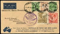 Lot 524:6d Chestnut Overprinted 'OS' BW #23(OS) on 1934 (Jul 3) cover flown on intermediate stage of Townsville-Port Moresby-Townsville flight, both cachet types on reverse, with 'JUNE/1934' cachet on front, AAMC #395d, (Cat $250), 6d 'OS' overprint on-cover Cat $1,000.