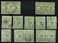 Lot 513 [2 of 2]:½d Selection with pairs x4 (two with private perfins), CTO single well centred with full unmounted gum, plus six singles with private perfins. (15)