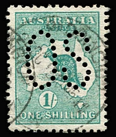 Lot 505 [1 of 2]:½d to 2/- Perf Large 'OS' (including ½d pair), variable centring, some nibbed perfs (especially 9d), mostly fine with datestamp cancels, Cat $1,300+. (12)