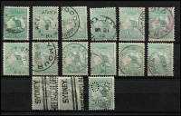 Lot 544 [2 of 2]:1/- Selection x16, various shades including grey-green pair with parcels cancel, also perf small 'OS' & Watermark inverted CTO example, mostly neat datestamp cancels, Cat $750+. (16)
