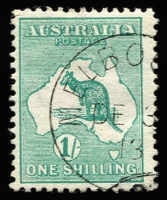 Lot 544 [1 of 2]:1/- Selection x16, various shades including grey-green pair with parcels cancel, also perf small 'OS' & Watermark inverted CTO example, mostly neat datestamp cancels, Cat $750+. (16)