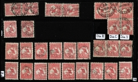 Lot 515 [2 of 3]:1d Red Selection with multiples including strip of 5 & block of 5, various shades & dies and & CTO example, also private perfins x19 one on David Jones cover, uncancelled; mostly fine or VFU. (53)