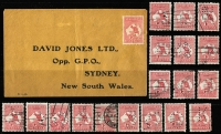 Lot 515 [3 of 3]:1d Red Selection with multiples including strip of 5 & block of 5, various shades & dies and & CTO example, also private perfins x19 one on David Jones cover, uncancelled; mostly fine or VFU. (53)