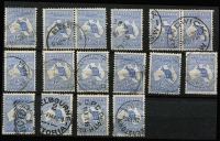Lot 88 [2 of 2]:6d Blue Selection including pairs x3, one with 'L/S' perfin, generally fine/VFU examples with datestamp cancels, minimum Cat $630. (18)