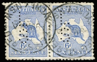 Lot 88 [1 of 2]:6d Blue Selection including pairs x3, one with 'L/S' perfin, generally fine/VFU examples with datestamp cancels, minimum Cat $630. (18)