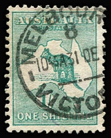 Lot 94:1/- Green variety Watermark inverted BW #30a, fine commercially used, Cat $500.