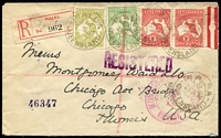 Lot 502:1d Red marginal pair, ½d & 3d Die I, attractive three-colour franking on registered cover to USA tied by Pialba (Qld) datestamps, black/red registration label, Maryborough, Brisbane & San Francisco transits and Chicago arrival backstamps. Most attractive.
