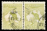 Lot 78:3d Olive Die II BW #12B pair, with Perth datestamps cancels, Cat $800+.