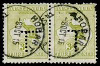 Lot 8:3d Olive Die I Perf 'T' BW #12 pair, right-hand 