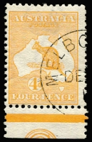 Lot 536:4d Orange with part (approx one third) of 'CA' Monogram, Melbourne 'DE[3]/1[3]