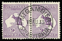 Lot 80 [1 of 2]:9d Violet selection comprising pair x2, plus six singles one perf small 'OS' and one CTO, odd nibbed perf, overall fine/very fine used, Cat $500+. (10)