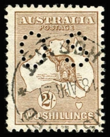 Lot 99:2/- Brown Perf 'OS' variety White flaw under second 'L' of 'SHILLINGS' BW #36ba(1)f, few pulled perfs, Registered Hobart datestamp, Cat $900.