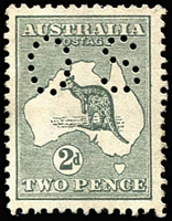 Lot 552:2d Grey Perf Small 'OS' BW #6ba, very well centred, MVLH, Cat $425.