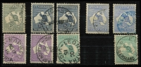 Lot 554 [2 of 2]:2d To 1/- Selection comprising 2d, 2½d x2 (separated pair), 6d x2, 9d x2 & 1/- x3, all with tidy datestamp cancels, Cat $660. (10)