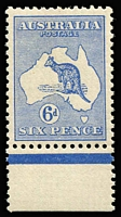 Lot 557:6d Ultramarine BW #18 marginal example, mild tone banding on gum, very well centred, MUH, Cat $2,250.