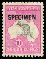 Lot 596 [2 of 2]:10/- & £2 Optd 'SPECIMEN' Type B BW #48x,56x, 10/- gum crease, £2 light gum bend & few nibbed perfs, both very well centred, Cat $1,200. (2)