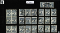 Lot 124 [3 of 5]:Accumulation with 2½d x26 including block of 4 & two pairs, 6d blue x33 including two pairs & two Inverted watermark singles, 9d x26 including block of 4 and a pair and 1/- x34 including strip of 3 and two pairs; good variety of shades and some nice datestamp cancels, condition variable, however many are fine. (119)