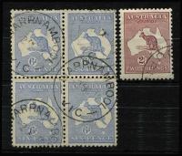 Lot 567 [2 of 2]:Selection with 6d blue Die II block of 4 (few nibbed perfs at top), fine Warrnambool datestamp cancels; also 6d blue Die IIB (mild crease) & 2/- maroon CTO both with full unmounted gum, Cat $350. (3)