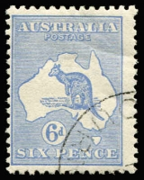 Lot 567 [1 of 2]:Selection with 6d blue Die II block of 4 (few nibbed perfs at top), fine Warrnambool datestamp cancels; also 6d blue Die IIB (mild crease) & 2/- maroon CTO both with full unmounted gum, Cat $350. (3)