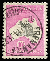 Lot 597:10/- Grey & Deep Aniline Pink variety Very short Spencer's Gulf [R12] 48B(D)f, ironed out wrinkle in top-right corner, well centred, finely struck 1923 Fremantle datestamp, Cat $750.