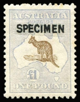 Lot 601:£1 Brown & Pale Blue Optd 'SPECIMEN' Type B BW #52Dx, couple of faint perf tip tones, excellent centring, Cat $900.