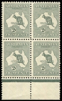 Lot 125:2d Grey Die I BW #7 marginal block of 4, fresh MUH, Cat $500+.