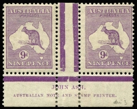 Lot 581:9d Pale Violet Die IIB Ash imprint pair BW #27(3)zg, mild uniform gum toning, mounted in lower selvedge only, stamps MUH, Cat $400.