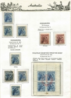 Lot 685 [2 of 4]:1913-37 KGV Commemoratives complete used on Seven Seas hingeless pages including 6d Engraved Kooka x2 (one CTO), Kooka M/S with red Exhibition cancel (small stain in margin), 5/- Bridge CTO (with gum); also 'OS' perfin/overprints including Kingsford Smith 2d & 3d CTO; generally fine. (79)