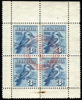 Lot 685 [1 of 4]:1913-37 KGV Commemoratives complete used on Seven Seas hingeless pages including 6d Engraved Kooka x2 (one CTO), Kooka M/S with red Exhibition cancel (small stain in margin), 5/- Bridge CTO (with gum); also 'OS' perfin/overprints including Kingsford Smith 2d & 3d CTO; generally fine. (79)