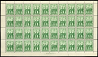 Lot 580 [1 of 4]:1940-1959 Complete Sheets comprising 1940 1d AIF (upper & lower panes separated), 1954 3½d Railway Centenary and 1959 5d Post Office Anniversary, fresh MUH. (3 items)