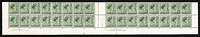 Lot 581 [3 of 4]:1942-1956 Selection with 1942-50 2½d KGVI scarlet gutter block of 32 with Authority imprints x2, 1950-51 QEII 1½d green gutter block of 32 with Authority imprints x2, 1963-65 QEII 5d green booklet sheet Plate No 1 (with dashes) top centre block of 48 (16x3) BW #400za; 1956 2/- Courvoisier imprints of 16 x2 from the top & bothom of the sheet, the upper block with varieties White spot on top of building & White flaw on 'T' of 'AUSTRALIA' [RtSh 2/2 & 2/4] BW #335d&e; fine MUH. (5 items)