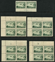 Lot 584 [2 of 3]:1929 3d Airmail Type A (31x22mm) BW #134 selection comprising Ash imprint block of 4 (lower-right unit showing Colour spots beneath plane) and pair, Plate No corner blocks of 4 with Plate 1 x3 (one with central perfs reinforced), Plate 2, Plate 3 & Plate 4 x2, generally fine with many units MUH, Cat $675+. (34)