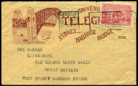 Lot 586 [2 of 3]:1932 Sydney Harbour Bridge illustrated telegram with South East Pylon '2AP32' datestamp plus accompanying envelope with Opening Celebrations slogan cancel, also Opening Day real-photo PPC of Harbour Bridge, unused. (3 items)