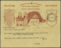 Lot 586 [1 of 3]:1932 Sydney Harbour Bridge illustrated telegram with South East Pylon '2AP32' datestamp plus accompanying envelope with Opening Celebrations slogan cancel, also Opening Day real-photo PPC of Harbour Bridge, unused. (3 items)