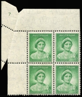 Lot 699:1937-38 1d Green QE Die I upper-left corner block of 4 showing full Plate Nº. 7 BW #181zr, due to paper fold, stamps fresh MUH, Cat $1,250.