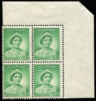 Lot 700:1937-38 1d Green QE Die I upper-right corner block of 4 showing almost complete Plate Nº. 7 BW #181zt, lower stamps MUH, Cat $1,250.