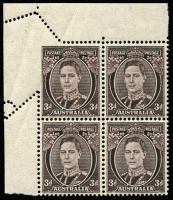 Lot 788:1941-51 3d Brown KGVI Perf 14¾x14 upper left block of 4, corner unit Partly imperforate on two sides due to paper fold, unlisted in Brusden White, stamps MUH. Spectacular.